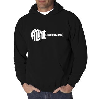 Los Angeles Pop Art Men's All You Need Is Love Black or Grey Cotton and Polyester Hooded Sweatshirt