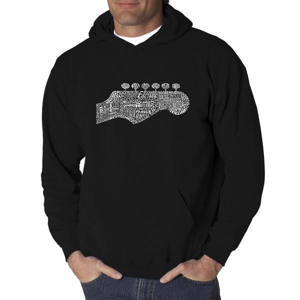 Mens Black Cotton/Polyester Guitar Head Hooded Sweatshirt