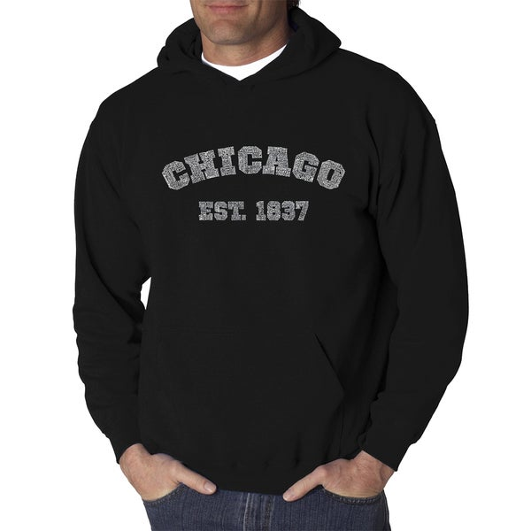 Los Angeles Pop Art Mens Chicago 1837 Black and Grey Cotton and Polyester Hooded Sweatshirt