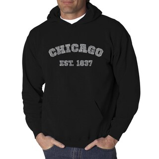 Los Angeles Pop Art Men's Chicago 1837 Black and Grey Cotton and Polyester Hooded Sweatshirt