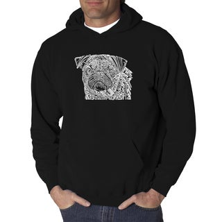 Los Angeles Pop Art Men's Pug Face Hooded Sweatshirt