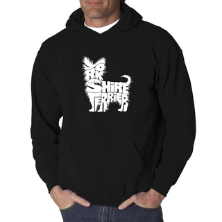 Los Angeles Pop Art Men's Yorkie Black/Grey Cotton/Polyester Hooded Sweatshirt