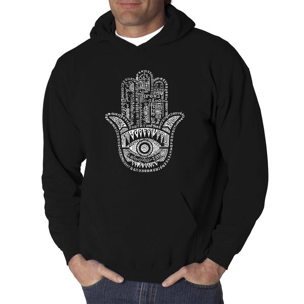 Los Angeles Pop Art Mens Hamsa Cotton and Polyester Hooded Sweatshirt