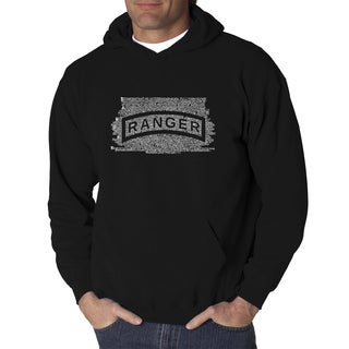 Los Angeles Pop Art Men's US Ranger Creed Black Cotton and Polyester Hooded Sweatshirt