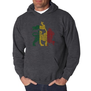 Los Angeles Pop Art Men's One Love Rasta Lion Black Cotton Hooded Sweatshirt