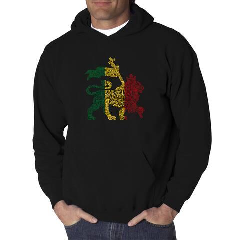Los Angeles Pop Art Men's One Love Rasta Lion Black Cotton Hooded Sweatshirt