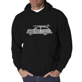 Los Angeles Pop Art Men's Woody Classic Surf Songs Black or Grey Cotton and Polyester Hooded Sweatshirt