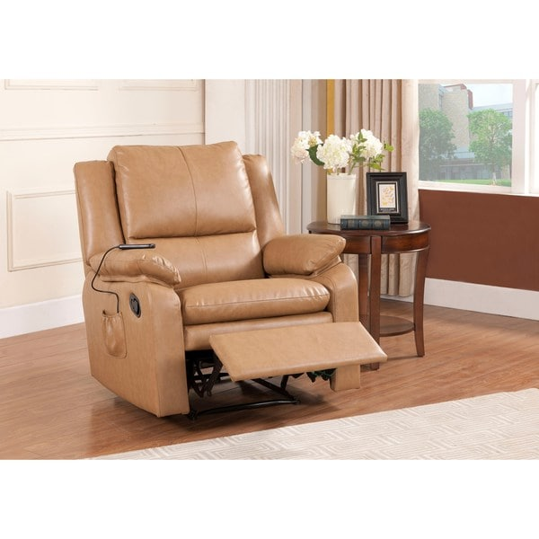 Shop Kb Camel Vinyl Massage Recliner - Overstock - 12038579-6335