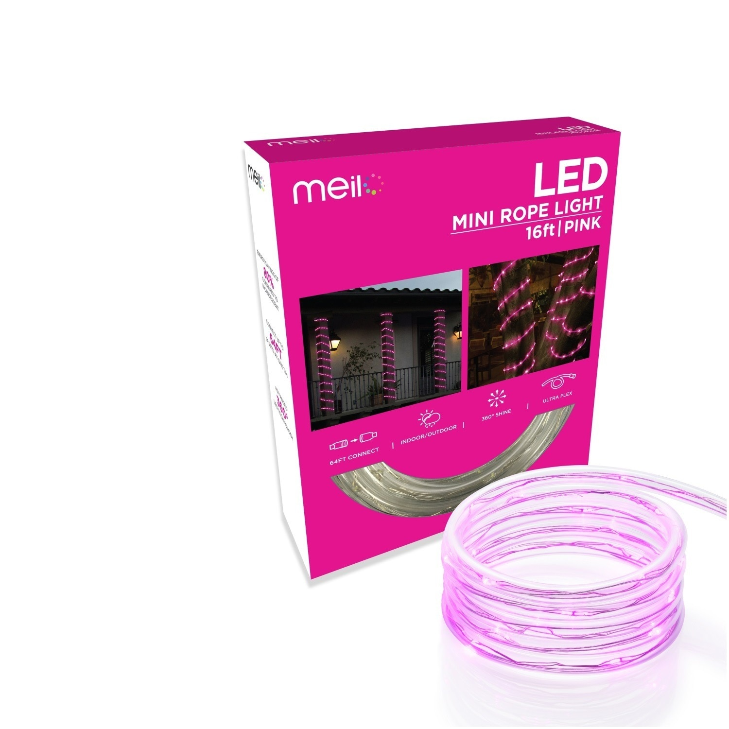 official photos 52cee ac6a9 Meilo 16 ft. True-Tech LED Mini Rope Light with 360-degree Directional  Shine - 16'
