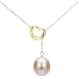 DaVonna Sterling Silver Open Heart Shape Chain Lariat Necklace with 9-10mm Pink Freshwater Cultured Pearl