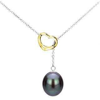 DaVonna Sterling Silver Open Heart Shape Chain Lariat Necklace with 9-10mm Black Freshwater Cultured Pearl