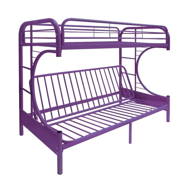 Eclipse Purple Metal Twin/Full Bunk Bed and Futon