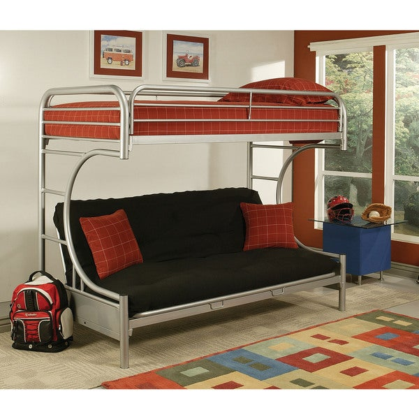 Eclipse Silver Metal Twin Xl Queen Futon Bunk Bed