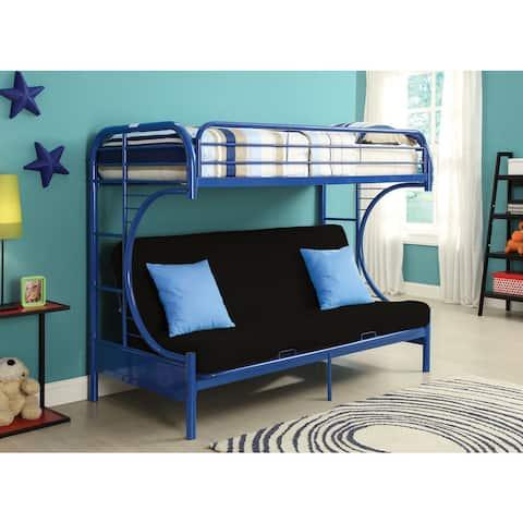 Eclipse Blue Twin XL/Queen Futon Bunk Bed