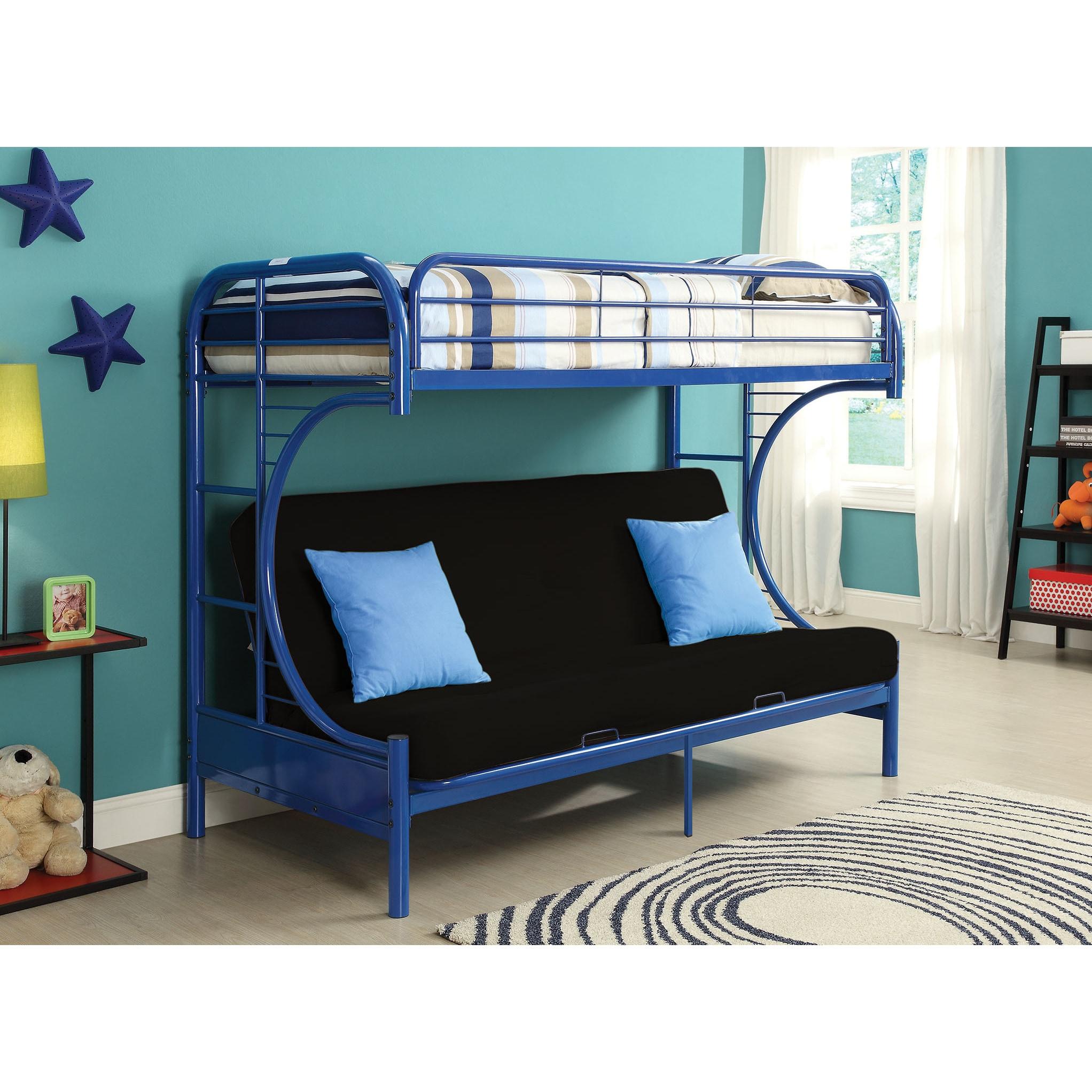 Silvertone Eclipse Blue Twin XL/Queen Futon Bunk Bed (Blu...