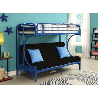 Eclipse Blue Twin XL/Queen Futon Bunk Bed