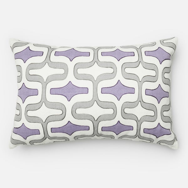 Screen Printed Grey/ Plum Trellis Feather and Down Filled or Polyester Filled 13 x 21 Lumbar Throw Pillow or Pillow Cover