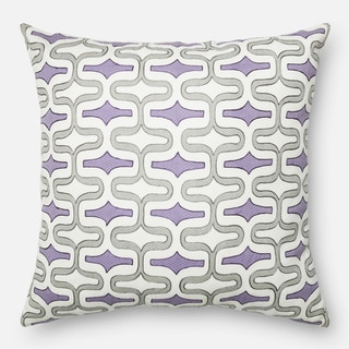 Screen Printed Grey/ Plum Trellis Feather and Down Filled or Polyester Filled 22-inch Throw Pillow or Pillow Cover