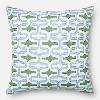 Screen Printed Light Blue/ Green Trellis Feather and Down Filled or Polyester Filled 22-inch Throw Pillow or Pillow Cover