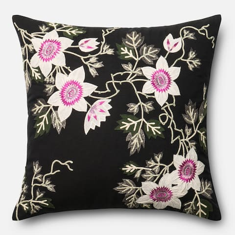 Embroidered Cotton Black/ Ivory Floral 22-inch Throw Pillow or Pillow Cover