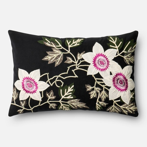 Embroidered Cotton Black/ Ivory Floral 13 x 21 Throw Pillow or Pillow Cover