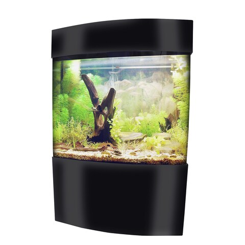 Vepotek Black Glossy Acrylic Rectangular Bow Fish Tank Kit with Stand and Canopy