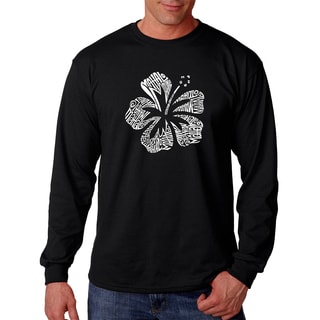 Los Angeles Pop Art Men's Black Cotton Graphic Long-sleeved T-shirt