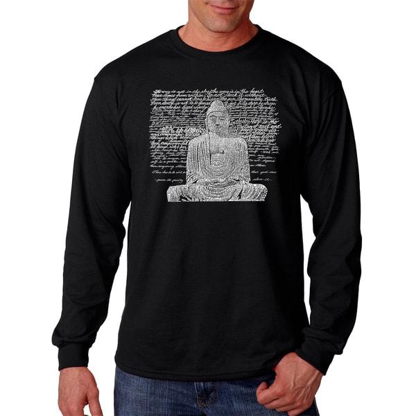 Los Angeles Pop Art Mens Zen Buddha Black Cotton Long-sleeve T-shirt