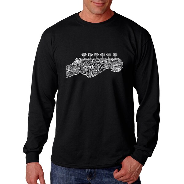 Los Angeles Pop Art Mens Guitar Head Black Cotton Long Sleeve T-shirt