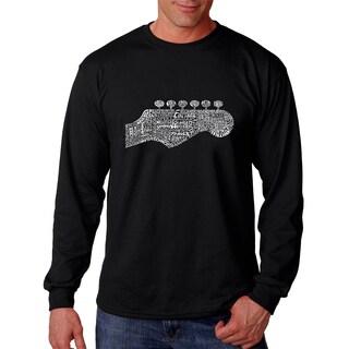 Los Angeles Pop Art Men's Guitar Head Black Cotton Long Sleeve T-shirt