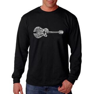 Los Angeles Pop Art Men's Country Guitar Black Cotton Long-sleeved T-shirt