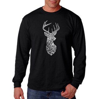 Men's Black Cotton Types of Deer Long-sleeve T-shirt