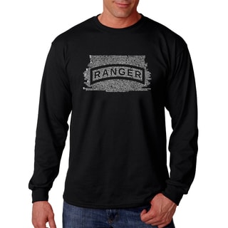 Los Angeles Pop Art Men's Black Cotton Long Sleeve Graphic T-shirt