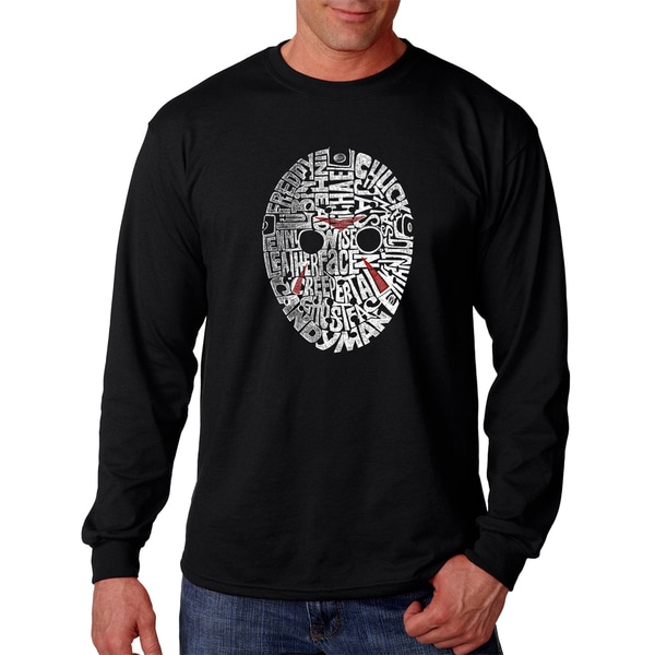 Mens Slasher Movie Villains Black Cotton Long-sleeve T-shirt