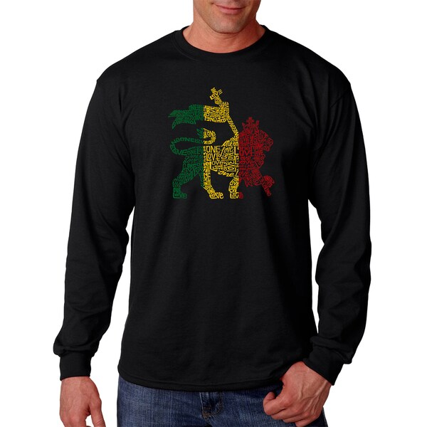 Mens Black Cotton Graphic Long Sleeve T-shirt