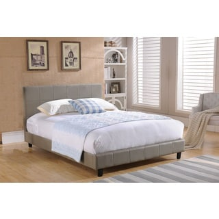 K&B Grey Faux Leather Queen Upholstered Bed