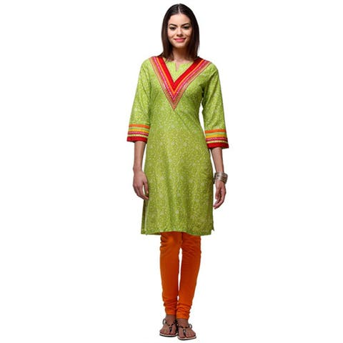 Handmade In-Sattva Women's Green Cotton Indian Floral Cheerful Kurta Tunic with Contrasting Trim (India)
