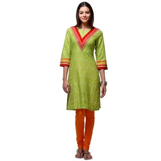 In-Sattva Women's Green Cotton Indian Floral Cheerful Kurta Tunic with Contrasting Trim