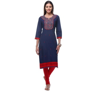 In-Sattva Women's Blue/Red Cotton Classic Kurta Tunic With Sequin Mirror Yoke