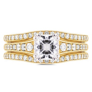 Annello 14k Yellow Gold 1 1/10ct Cushion Moissanite and 1/2ct TDW Diamond 3-piece Bridal Set (G-H, I1-I2)