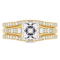 Annello by Kobelli 14k Yellow Gold 1 1/10ct Cushion Moissanite and 1/2ct TDW Diamond 3-piece Bridal