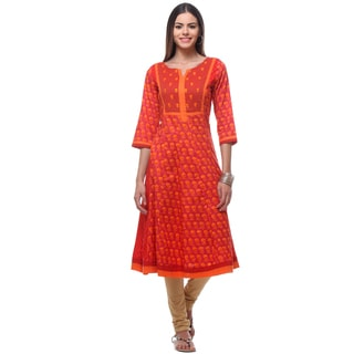 In-Sattva Women's Indian Classic Patterned Graceful Long Kurta Tunic