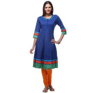 Handmade In-Sattva Women's Blue Cotton Kurta Tunic with Striped Trim (India)