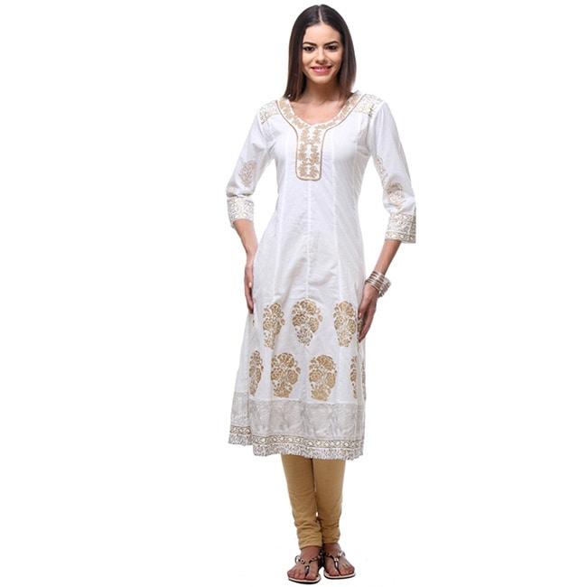 In-Sattva Women's Indian Elegant Gold Block Print Detaile...