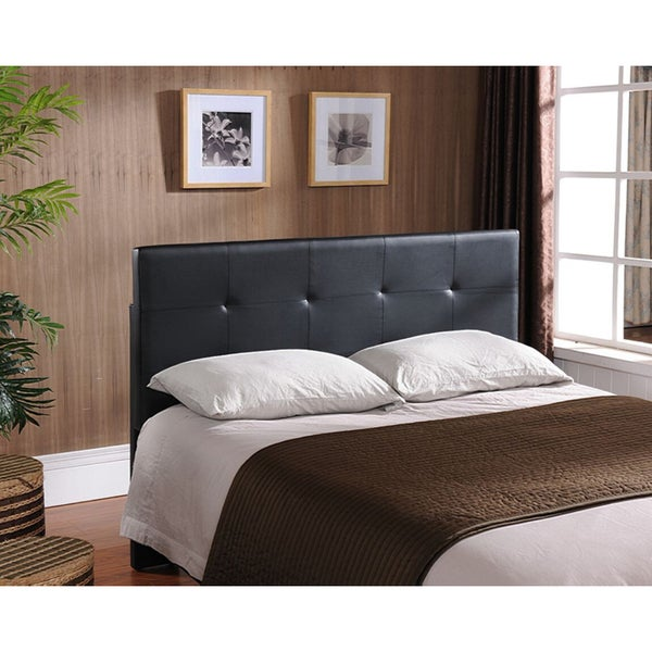 shop k b black faux leather queen headboard free shipping today 12038826. Black Bedroom Furniture Sets. Home Design Ideas
