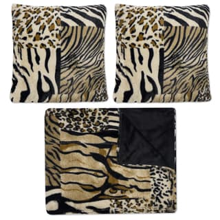 Sweet Home Collection Multicolor Faux Fur Mixed Exotic Animal Print Plush Decorative Pillows and Throw (Pack of 3)