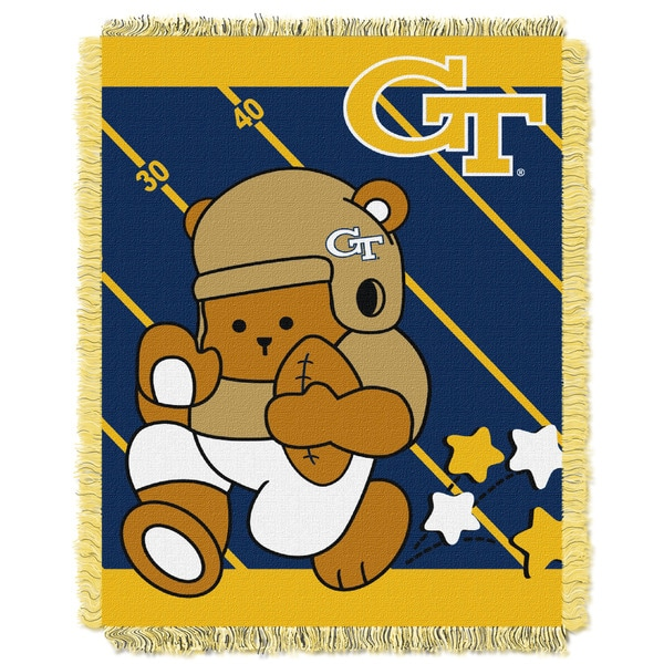 COL 044 Georgia Tech Yellow/Blue Acrylic Baby Blanket