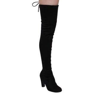 CAPE ROBBIN DD18 Women's Drawstring Block Heel Stretchy Snug-fit Thigh High Boots