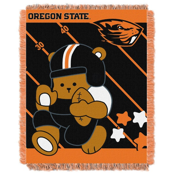 COL 044 Oregon State Black/Orange Acrylic Baby Blanket