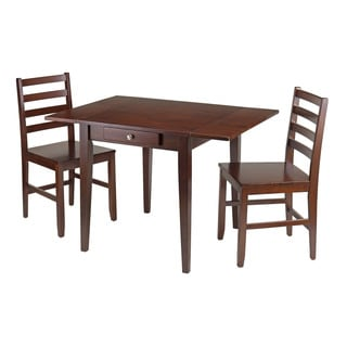 Winsome Hamilton Walnut-finish Wood 3-piece Drop Leaf Dining Table with 2 Ladder Back Chairs and Drawer